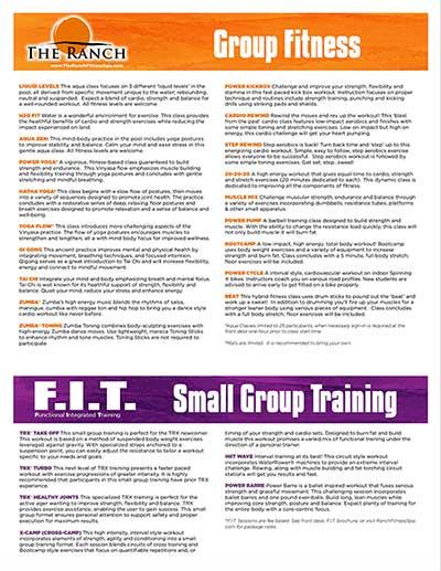 The Ranch Fitness Center Class Descriptions Ocala, FL