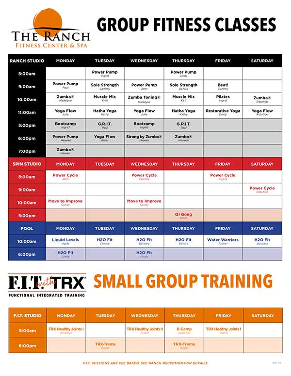 Group Fitness Classes at The Ranch Fitness Center and Spa in Ocala, FL