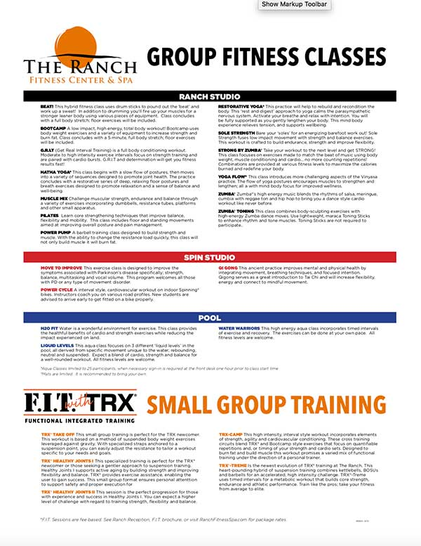 Group Fitness Class Descriptions at The Ranch Fitness Center and Spa